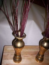 1968 SET OF BRASS VASES WITH BURGUNDY STEMS in Camp Lejeune, North Carolina