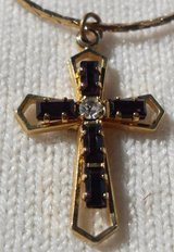 Vintage Small Cross with Stones on Gold Chain in Kingwood, Texas