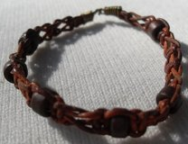 Bracelet Small Leather Weave and Wooden Beads in Houston, Texas