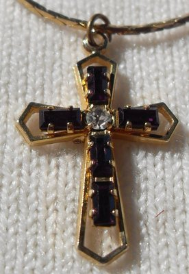 Vintage Small Cross With Stones On Gold Chain Jewelry For Sale On Kingwood Bookoo